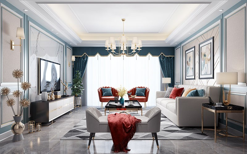 Effect drawing of living room with sofa