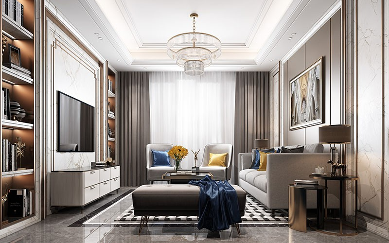 Overall effect drawing of living room
