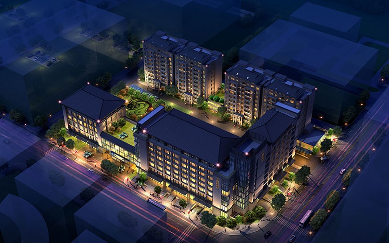 Night Scene Renderings of Residential Area