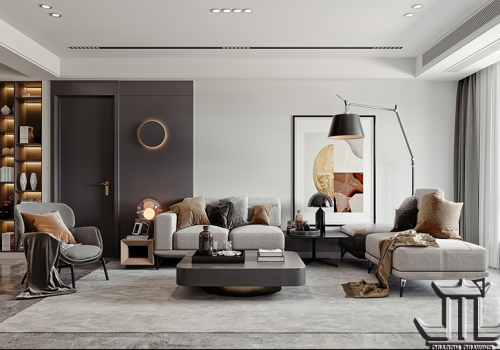 How does a modern style living room design rendering look like?