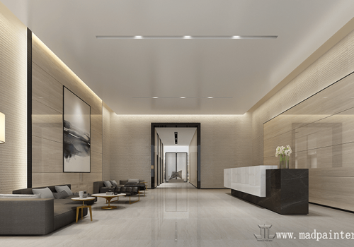 Modern and simple Chinese hotel interior rendering