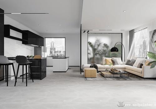 modern minimalist style interior design rendering characteristics