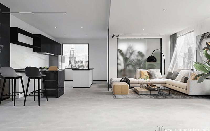 Modern minimalist style living room design rendering