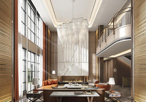 Fuzhou villa rendering | 500 flat modern light luxury style case appreciation